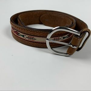 Native American Belt sz 38 Brown Leather Western